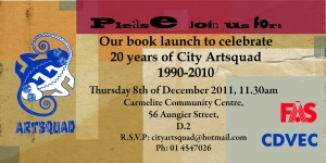 invite for artsquad book launch